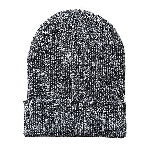 GLOUE Men's Slouch Beanie Knit Hat/Cap Trendy Warm Chunky Soft Stretch Cable Knit Beanie Skully Toboggan Winter Warm Ski Baggy Hat Unisex Various Styles (Men-Black&Grey) (Cuffed Knit Beanie Cap)
