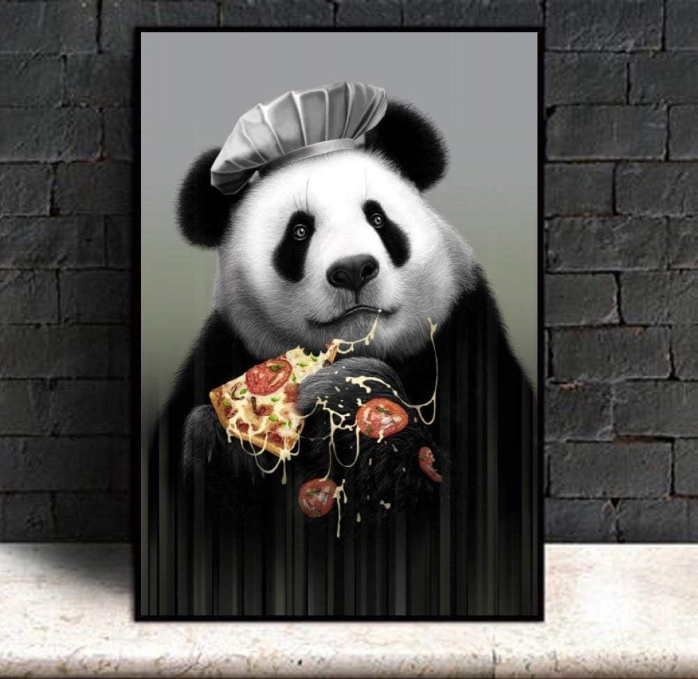 Cuadro En Lienzo,Caricatura Carteles E Impresiones Pizza Panda Animales Pintura En Tela, Guardería Infantil Pared Sala De Arte Imagen De Salón Kids Decoración,50X70Cm Sin Marco