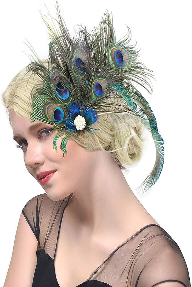 dressfan Vendimia Joven a la moda Diadema Pluma de Pavo Real Diadema Cóctel Caballos Niñas Mujeres Coloridas