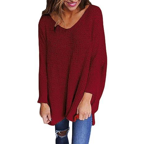 swall owuk Mujer V Recorte Sudadera Jersey Oversize Mujeres Invierno Punto Punto pullis Sweater Otoño Manga