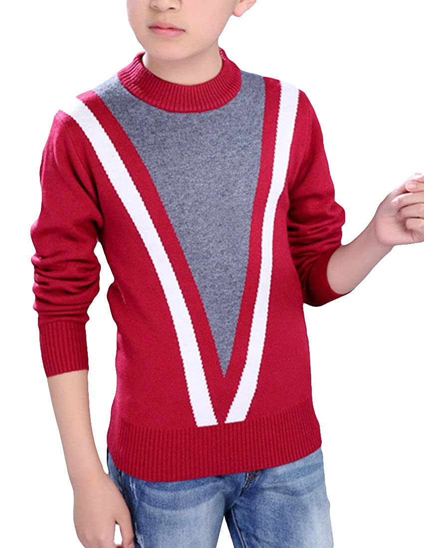 MFrannie Boys Thick Woolen Contrasted Knits Long Sleeve Sweater