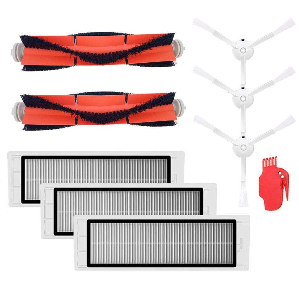 SODIAL Piezas del Aspirador 3 x Cepillo lal + 3 filtros HEPA + 2X Cepillo Principal + 1 x Herramienta Adecuado para Xiaomi Mi Robot
