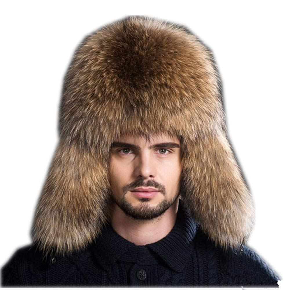 Gegefur Mens Winter Hat Real Fox Fur Genuine Leather Russian Ushanka Hats (Raccoon) by Gegefur