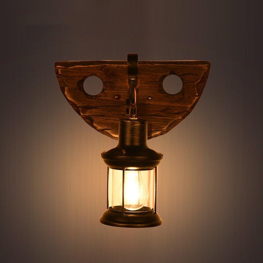 Meiya lamp Kreative Wandleuchte, Massivholz Basis Wandleuchte Eisen Kunst Laterne Korridor Cafe Club Haus Schlafzimmer Wohnzimmer Wandleuchte E27 Einzelner Kopf 30  36CM (Größe   30  36CM)