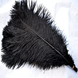Sowder 5pcs Ostrich Feathers 16-18inch(40-45cm) for Home Wedding Decoration(black)