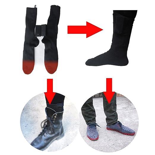 Per 3V Calcetines Calefactables Dobles Capas para Homres y Mujeres con Baterías Calcetines Térmicos Invierno para Acampada Esquí (1par): Amazon.es: Deportes ...