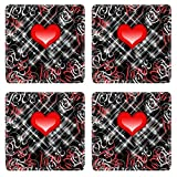 MSD Square Coasters Red Love Heart on black background Image 6144516 by MSD Customized Tablemats Stain Resistance Collector Kit Kitchen Table Top DeskDrink Customized Stain Resistance Collector Kit Ki