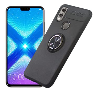 AhaSky Funda Huawei Honor 8X, Carcasa con 360 Grados Anillo Kickstand, Shock-Absorción Silicona Case para Honor 8X - Negro