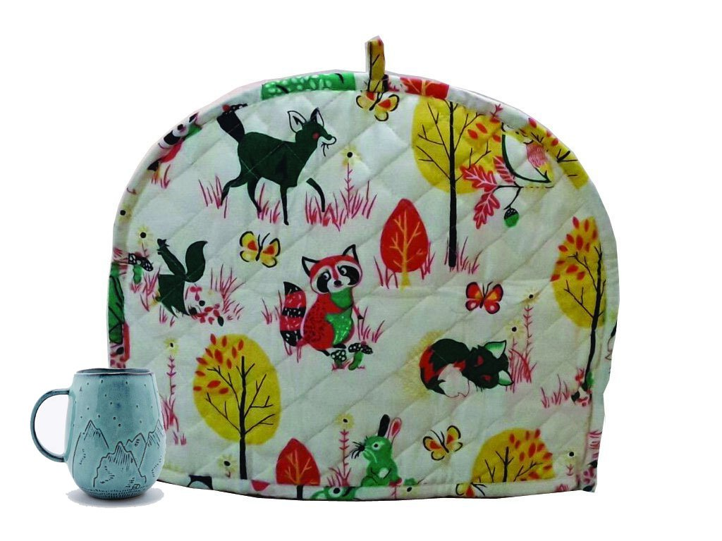 Indian Cotton Printed Tea Cozy Abstract TeaPot Décor Cover Traditional Tea Quilt Warmer Home Decorative Tea Cozies Insulated Gift Ethnic Animal Printed White Tea cozy For Teapot Marudhara Fashion TEA00013