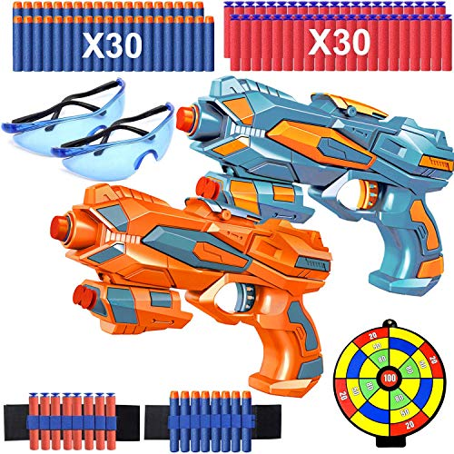 2 Pack Toy Guns for Boys, Kids Blaster Guns with 60 Soft Foam Bullets, 2 Shoot Targets, 2 Darts Wrist Band and 2 Safety Goggles, Children Toy Pistol, Best Xmas Birthday Gifts for Age 3-10 Year Old