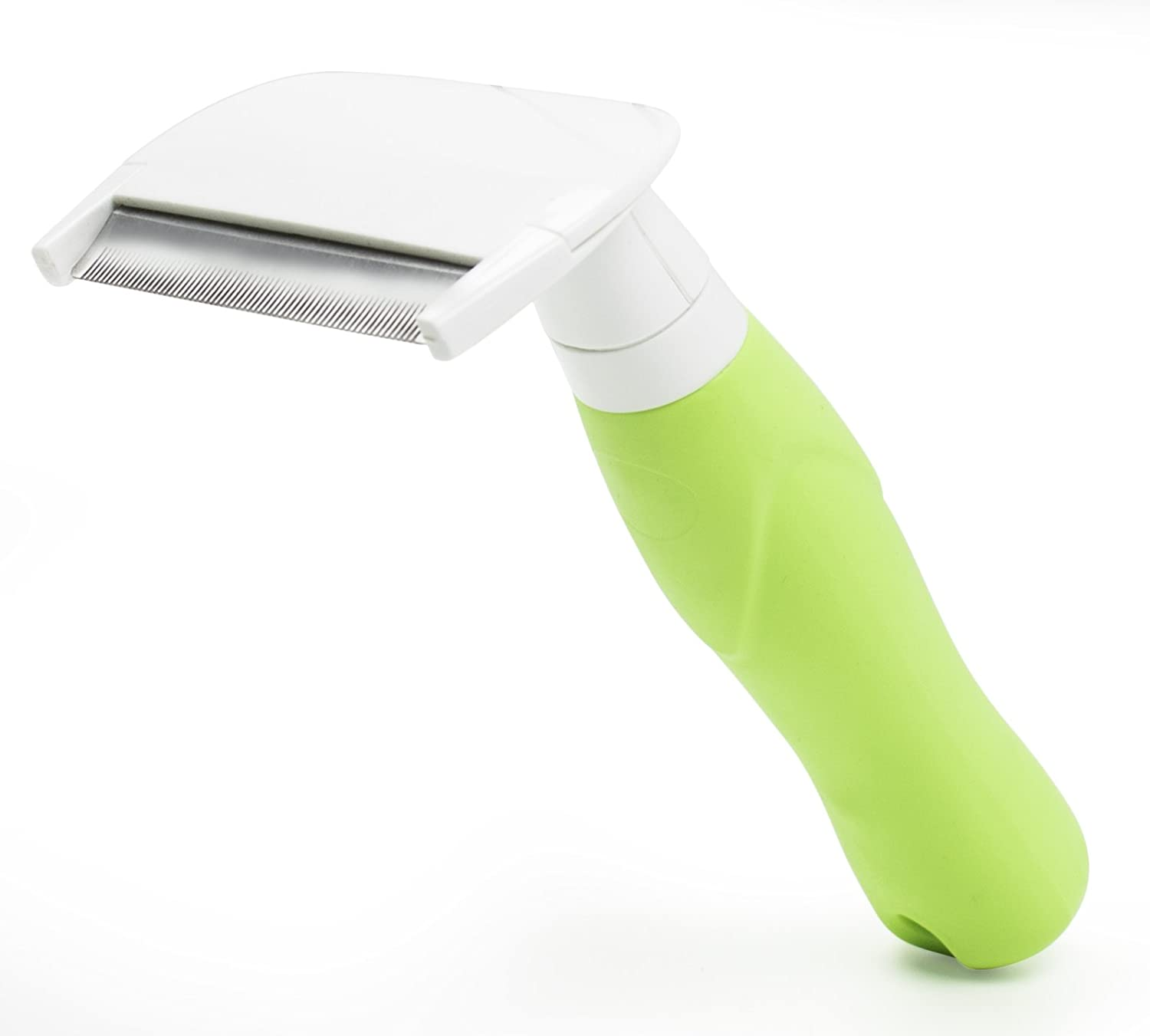 Green Bastex Pet Grooming and Deshedding Hair Brush. Reduces Shedding for Large and Small Pets by up to 95%, for Dogs and Cats Green