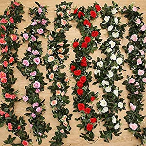 2.4m/7.8ft Artificial Silk Rose Flower Wisteria Vine Rattan Hanging Flower Garland Wedding Party Home Garden Decoration 32