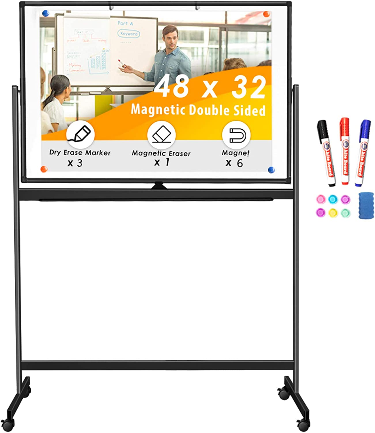 Double Sided Rolling Whiteboard, 48 x 32 inches Large Mobile Whiteboard Magnetic Movable White Board Dry Erase Stand Whiteboard on Wheels Classroom Home Office Marker Board