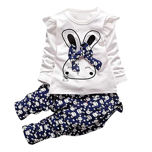 28a4347a956 Amazon.com  Cute Toddler Baby Girls Clothes Set Long Sleeve T-Shirt and  Pants Kids 2pcs Outfits Set  Clothing