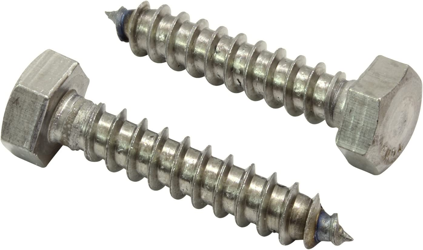 "5//16 x 2-1//2/"" Lag Bolts Hex Head Stainless Steel Heavy Duty Wood Screws Qty 5"