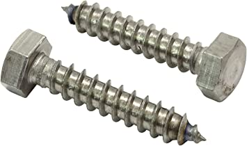 """Stainless Stee 304 18-8 1//4/"""" X 1-1//2/"""" Stainless Hex Lag Bolt Screws, 25 Pack"""