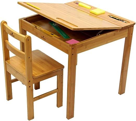 Mesa y silla infantiles para pintar y dibujar, hechas de bambú ...
