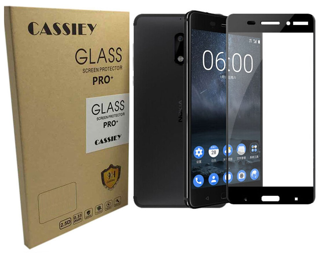 new product 6200b 08974 CASSIEY Nokia 6 2017 Edge to Edge Full Cover 2.5D Tempered Glass Screen  Protector Guard for Nokia 6 2017 -Black