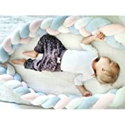 LOAOL Baby Crib Bumper Knotted Braided Plush Nursery Cradle Decor Newborn Gift Pillow Cushion Junior Bed Sleep Bumper (3 Meters, White-Rose-Blue)