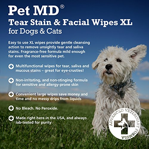 Pet-MD-Tear-Stain-Remover-Facial-and-Eye-Wipes-for-Dogs-and-Cats-Removes-Crust-Mucus-Tear-and-Saliva-Stains-70-XL-Wipes