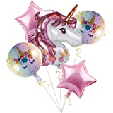 Unicorn Balloons Birthday Party Decorations - Pack of 6, Pink Unicorn Mylar Balloon for Unicorn Theme Party Supplies…