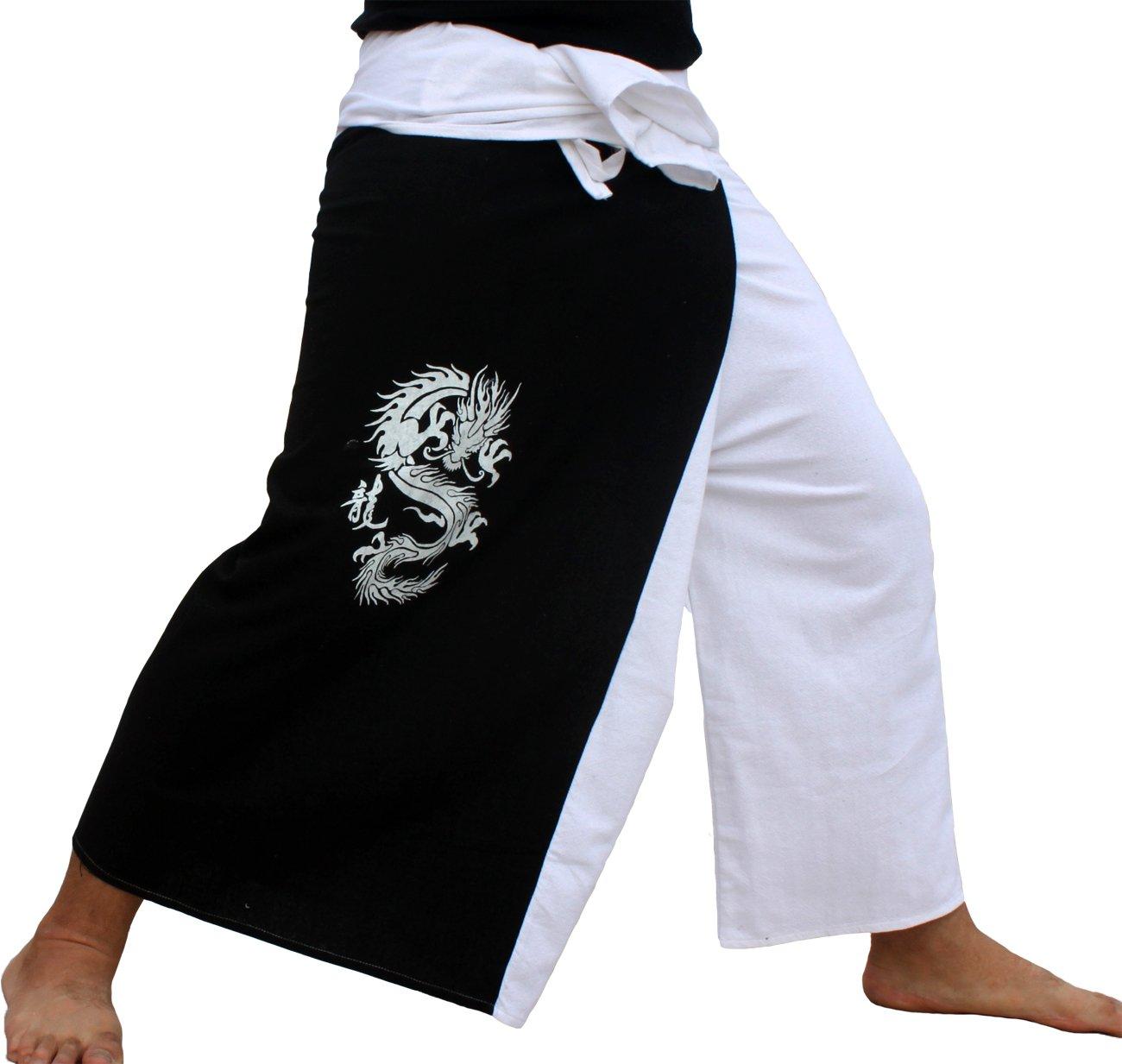 Raan Pah Muang RaanPahMuang Thick Cotton Two Color Fire Dragon Samurai Wrap Pants, X-Large, White With Black Panel by Raan Pah Muang