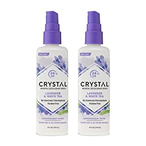 CRYSTAL™ Mineral Deodorant Spray- Body Deodorant With 24-Hour Odor Protection, Lavender & White Tea Spray, Non-Staining, Aluminum Chloride & Paraben Free, 4 FL OZ - Pack of 2
