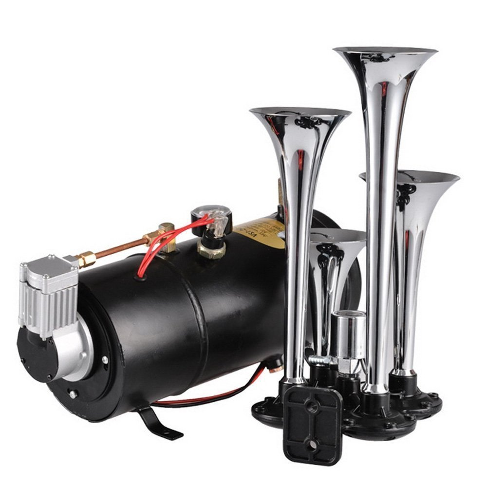 Hindom 150DB Super Loud train horns kit for trucks, 4 Air Horn Trumpet for Car Truck Train Van Boat, with 100PSI 12V Compressor and Gauge by Hindom