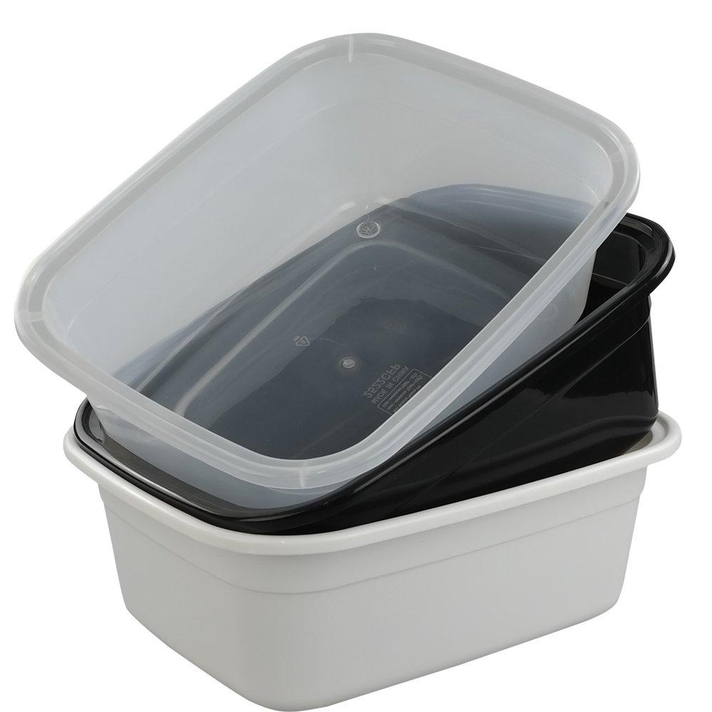 Morcte 10-12 Quart Rectangle Plastic Wash Pan/Dishpan Basin, Set of 3