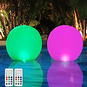 HORAVA Floating Pool Lights with Timer Remote(RF), 16inch Inflatable Waterproof RGB 16 Colors LED Glow Ball Lights,Pool Accessories for Adults,Hot Tub Bath Toys for Swimming Wedding Decor(2 PCS)