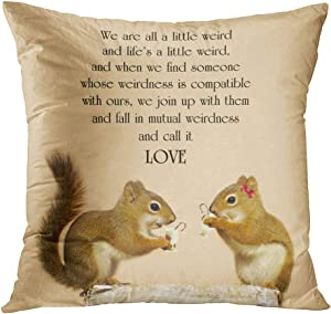 Docady Throw Pillow Decor Square 20 x 20 Inch Inspirational Quote Love Suess Cute Pair Squirrels Some Eggnog Christmas Decorative Cushion Cover Printed Pillowcase Cover Home Sofa Living Room
