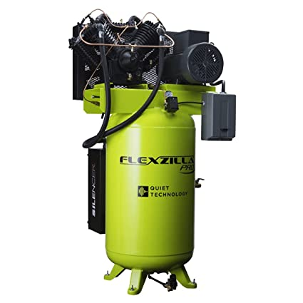 Flexzilla Pro Air Compressor with Silencer, Stationary, 10 HP, 80 Gallon, 1-Phase, 2-Stage, Vertical - FXS10V080V1 - - Amazon.com