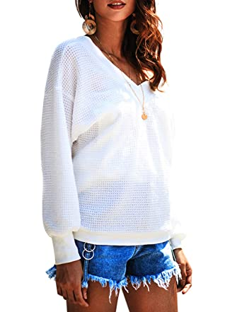 4d03b418c53492 Womens Long Sleeve White Shirts Big V Neck Off The Shoulder Blouse Tops  Tshirts