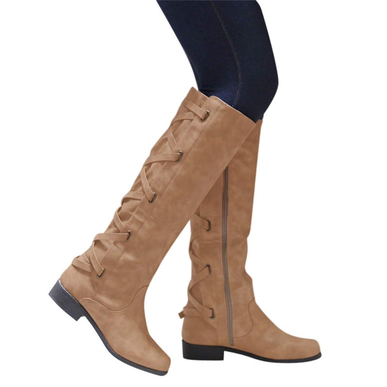 Amazon.com | Botines Shoes Woman Buckle Roman Riding Knee High Cowboy Boots Women Casual Boots Botas, Khaki, 8, US | Knee-High
