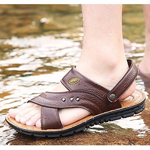 Abierta 37 Brown1 De Playa De Verano Hombres Cuero Más Para Real De Sandalias Zapatillas Papá Punta Zapatos Tamaño De Chanclas 47 Cuero Los BRZ8ZwxAq
