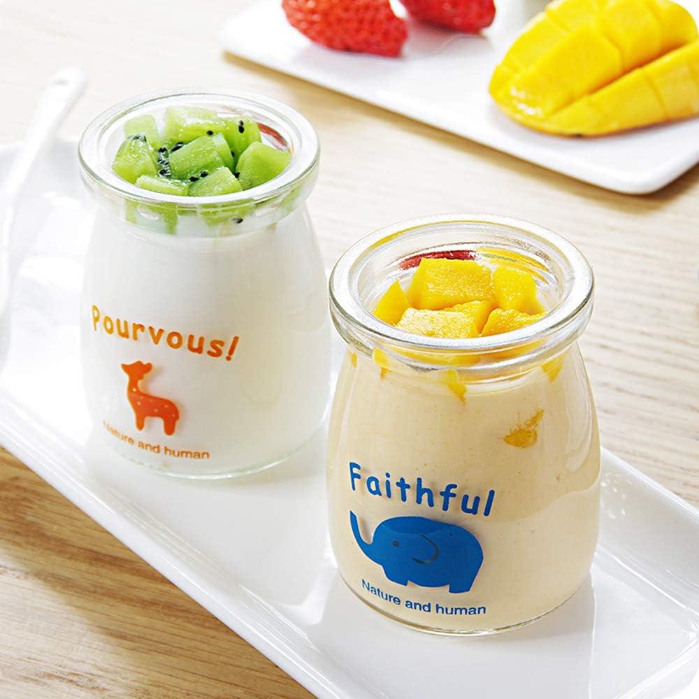 Ldawy Pots de bouteilles en verre de lait au pouding au yogourt avec couvercles en plastique Parfait pour le fabricant de yaourt Conception de mod/èle animal