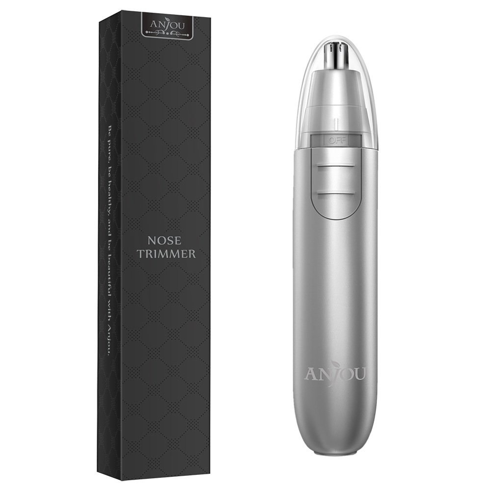 Nose Trimmer Anjou Ear Hair Trimmer Battery Operated Stainless Steel Dual-Edge Blades Facial Hair Groomer (Detachable Head and Washable Design) - Silver