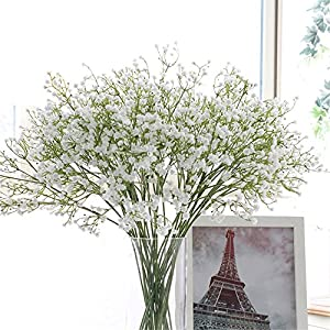 "Crt Gucy Artificial Flowers 9Pcs 21"" Baby Breath/Gypsophila Fake Silk Plants Wedding Party Decoration Real Touch Flowers DIY Home Garden 34"