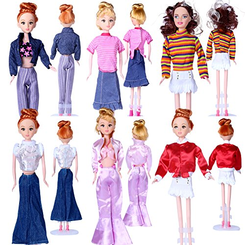 LittleKelly 5 Pcs Fashion Handmade Clothes Outfits Tops with Pants for Barbie Doll