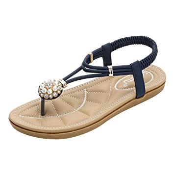 00ca83486eed Image Unavailable. Image not available for. Color  Women Bohemian Sandals  Rhinestone Flat Thong Sandals Floral Beaded Flip Flops Sandals Casual Summer  ...