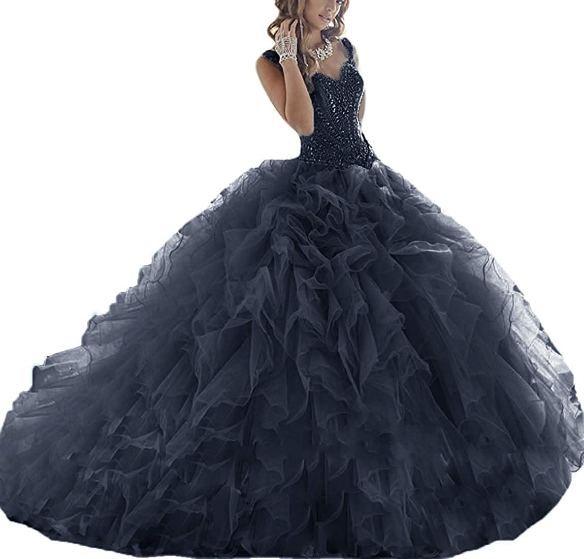 Navy bluee ASBridal Quinceanera Dresses Long Prom Party Dress Sweet 16 Crystals Beads Formal Ball Gowns Orangza
