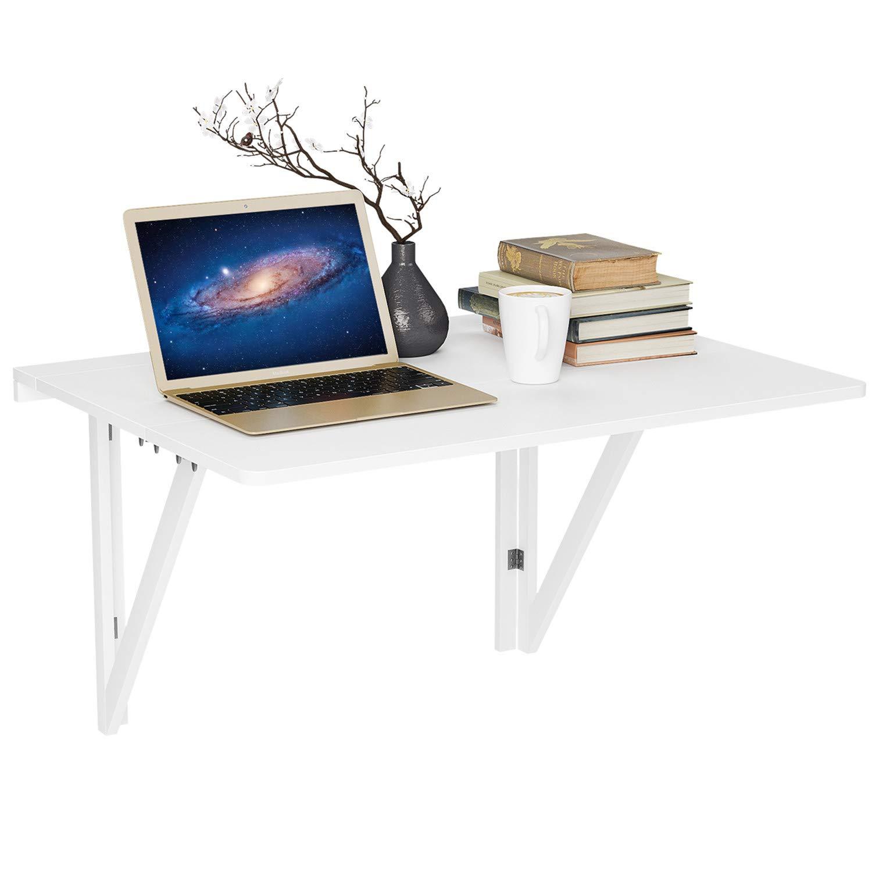 HOMFA Wandtisch klappbar mit 2 Halterungen Wandklapptisch weiß ...