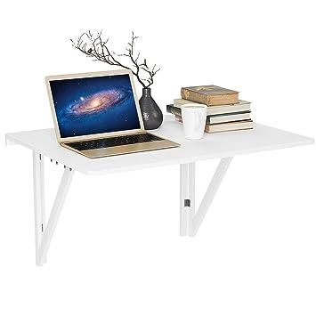 HOMFA Wandtisch klappbar mit 2 Halterungen Wandklapptisch weiß Klapptisch  Küche Holz Küchentisch Esstisch Computertisch Schreibtisch bis 30KG ...