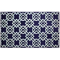Jean Pierre Cut and Loop Tazo 28 x 48 in. Textured Decorative Accent Rug, Navy/Mineral Blue