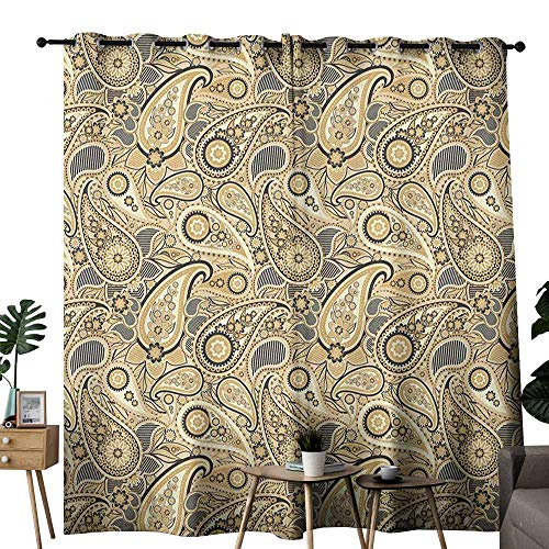 - duommhome Earth Tones Printed Curtain Iranian Pattern Based on Traditional Asian Paisley Welsh Pears Darkening and Thermal Insulating W72 x L108 Sand Brown Black Beige