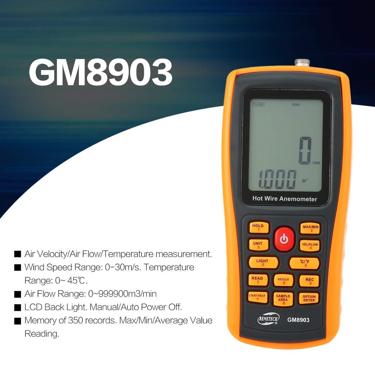 Dailyinshop BENETECH GM8903 Anemómetro Digital portátil de Alambre Caliente Medidor de Flujo de Velocidad del Viento (Color: Naranja)