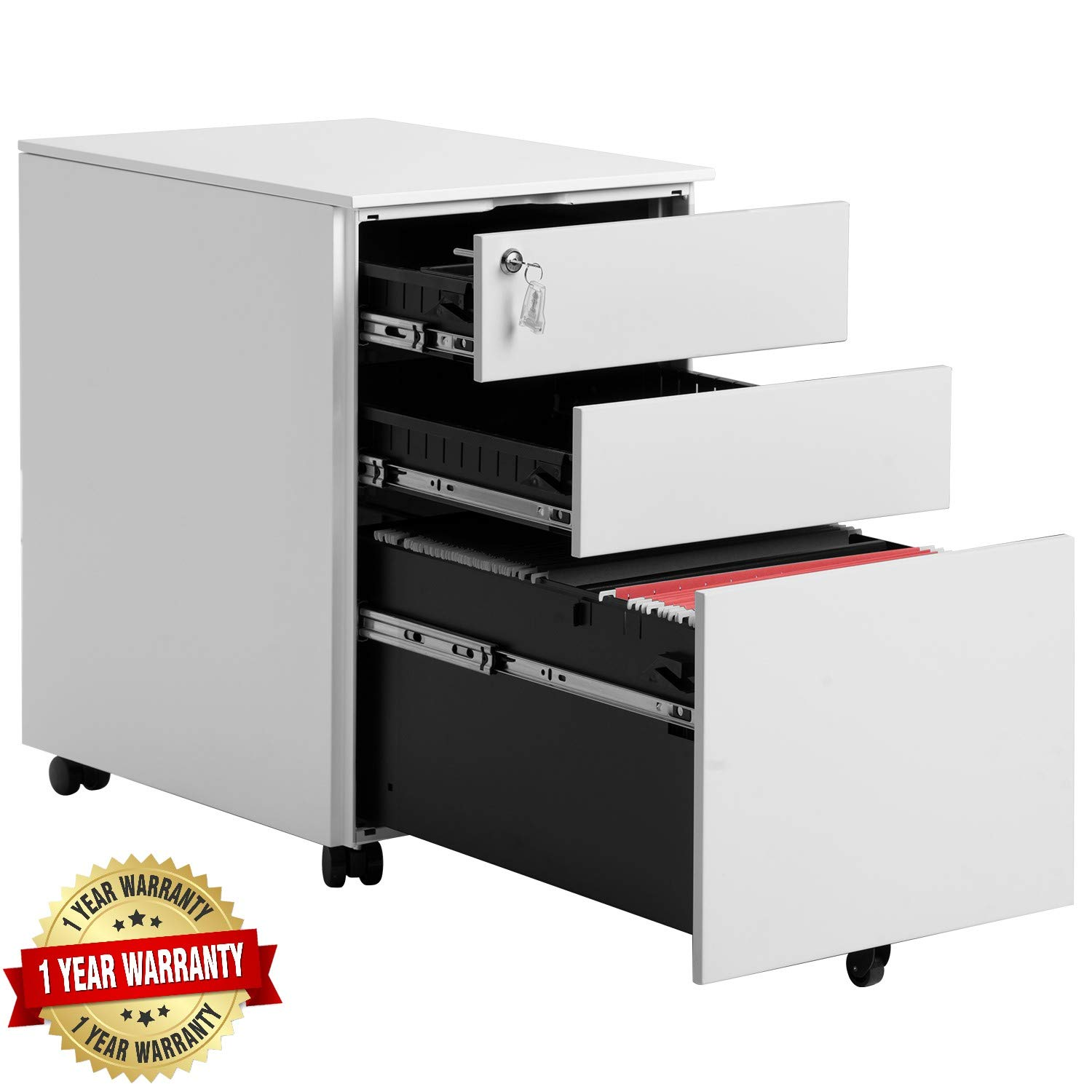 Steel File Cabinet 3 Drawer with Lock Mobile Pedestal Under Desk Fully Assembled Except for 5 Castors (White) by EAHOME
