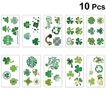 Amosfun 10 Hojas del día de San Patricio Tatuajes temporales Irish ...