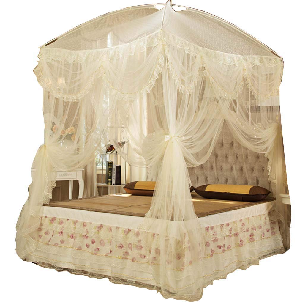 Nattey Princess Lace Canopies Mosquito Netting Canopy for Twin Full Queen King Bed Size (Yellow)