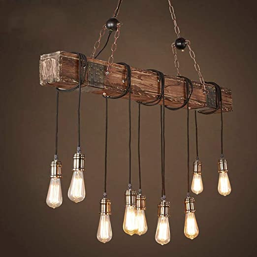 Araña rectangular de madera rústica hecha a mano - Lámpara colgante industrial con viga de madera vintage -